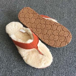 FAYUEKEY 2019 Femmes D'été Maison En Cuir Véritable En Peluche Fourrure Pantoufles Grande Taille Intérieur Sol Chambre Chambre Unisexe Flip Flops Chaussures Plates