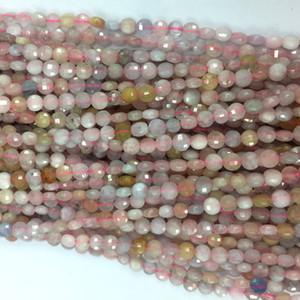 """Genuine Natural Multicolour Rosa Amarelo Azul Aquamarine Morganite mão cortada facetada planas Coin pequenas pérolas colares ou pulseiras 16"""" 06117"""