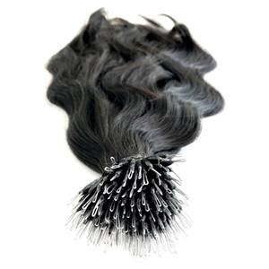 8A Grau Corpo anel onda nano cabelo virgem cor Natural Nano extensão do cabelo anel para as mulheres, de 0,8 g / s200s / Lot, DHL livre