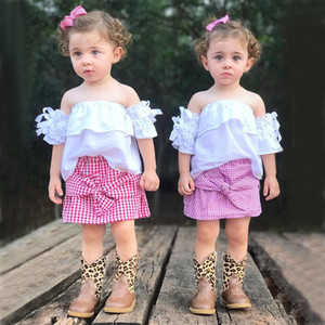 Baby girl outfits Set 2pcs Sexy off shoulder White top+ Plaid skirt Clothing Sets kids boutique Clothes