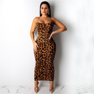 Imprimir Designer Crew Neck Sexy Feminino Estilo Roupa Night Club Csaual Womens Verão Vestuário Sling Vestidos Leopard