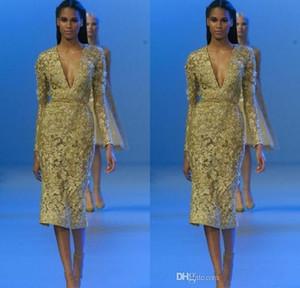 2020 Elie Saab Daffodil Tea-length Vestidos de noche de encaje brillante Vestidos de cóctel con manga larga con cuello en V Lentejuelas cortas Applique vestido de fiesta