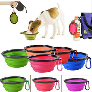 350 ML Travel Collapsible Silicone Pets Bowl Food Water Feeding Foldable Cup Dish With Carabiner for Dogs Cat 500pcs YD0607