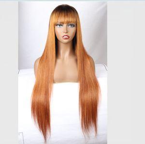 Ombre T1b / 30 parrucche dei capelli umani pieno merletto diritto con la frangetta dritta peruviano 360 parte anteriore del merletto dei capelli umani parrucche Pre-pizzico parrucche piene del merletto