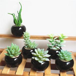 PRETO Cerâmica vaso Artificial Verde Suculenta Plantas Bonsai set falso da flor com vaso Início Varanda Decoração