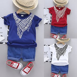 Casual Boys Clothes summer scarf printed short sleeve + denim shorts two-piece Baby Clothes set9