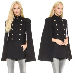Billig 2019 Neue Abend Beste Wolle Oberbekleidung Mäntel Mit Flügelhülse Schwarz Damen Zweireiher Umhänge Wollmischung Mantel Cappa Jacke Mantel