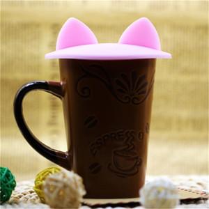 크리 에이 티브 귀여운 고양이 귀 실리콘 절연 컵 커버 방진 재사용 가능한 컵 뚜껑 DIY 무료 접합 열 인감 커버
