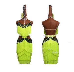 Новый зеленый флуоресцентный бахромой латинских танцев платье Женщины Performance Одежда вышитая Latin Dance Competition платье юбка
