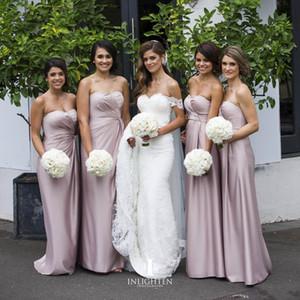 Sexy Dusty Pink 2020 платье невесты Длинной Милой Backless Wedding Guest платье длина до пола Ruched горничной честь Gowns