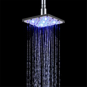 Bathroom shower head ABS square 6 inch LED colorful self-discoloration shower Top spray L0409