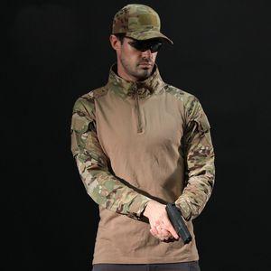 Uomini Tactical maglietta di allenamento militare a maniche lunghe T-shirt Camouflage traspirante Abbigliamento caccia esterna Escursionismo Tee Shirt
