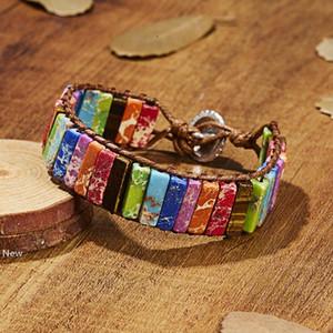 Stone Tube Beads Bohemia Bracelet Jewelry Handmade Multicolor Natural Beads Leather Winding Bracelet Couple Bracelet Creative Favor RRA2769
