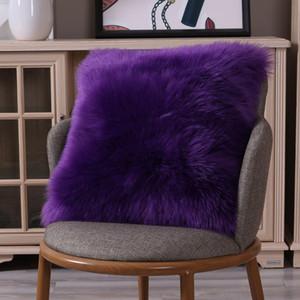 45x45cm peluche Taie Coussin en laine couverture d'un seul côté Faux Fur Sofa Lit Taie taie d'oreiller Couverture pour la maison Canapé Décor