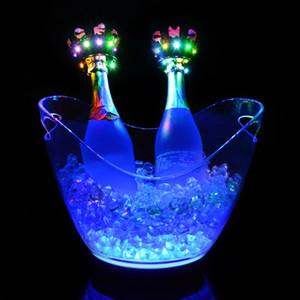 Caldaia del ghiaccio LED a pagamento all'ingrosso 4L Grande Champagne Beer Wine Cooler Ice Holder Singolo / colorato cambiando illuminato LED Ice Tub