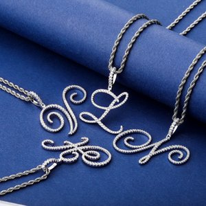 Font New A-Z Best Idea Iced Pendant Necklace Name Out Custom Mens DIY Letter Gift Zircon Kpjqc