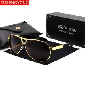 occhiali da sole polarizzati del progettista di marca TUZENGYONG uomini di Pilot rivestimento di vetro di Sun oculos Eyewear con il caso Occhiali guida di sesso maschile UV400