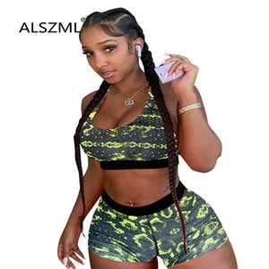 Summer beach style sexy print lady suit sports bras top and hot tight shorts 2 piece set sexy sports set