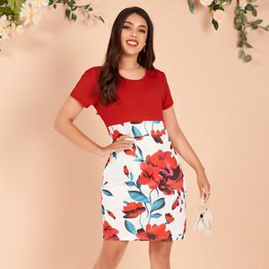 Sexy Blumenkleid Kurzes Minikleid Neue Sommer Damen Mode Block Hüfte Kurzes Slim Kleid S-XL