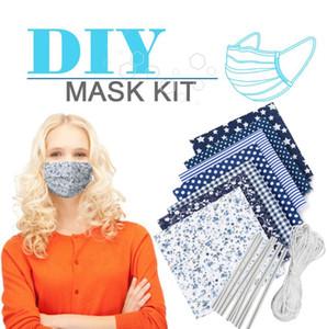 Máscaras DIY caseiro Máscara de poeira máscara materiais impressos Tecido de costura com a orelha corda elástico corda DIY Máscara Kit GGA3382