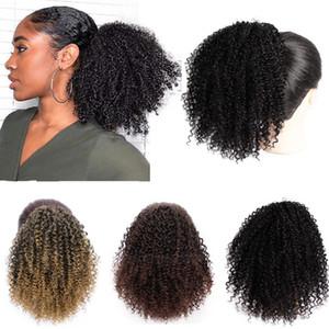 80g Afro Kinky Curly Ponytails peruca Marley tranças Natural Preto Remy Cabelo Dolago For Women Glueless brasileiro Bob Wig