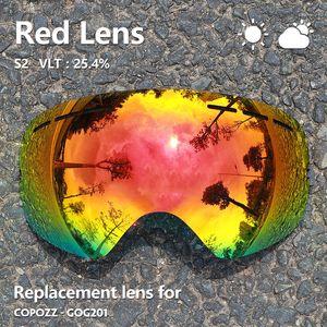 Gog-201 Lens Ski Goggles Lens Anti-fog Uv400 Большие сферические лыжные очки Снежные очки Замена линз очков (только объектив)