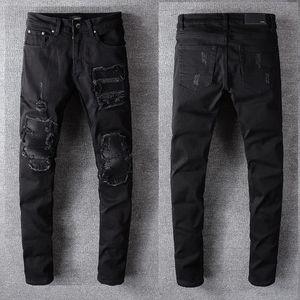 2020 Amiri Designer High Street Tide Marca Hip-Hop Jeans Europeu e Hip-hop pés lavados americanas Calças Jeans Buraco Amiri preto # 520