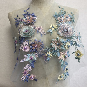 1 pièce de brodé 3D applique coudre-sur les patchs fleur paillettes perlé doamondes accessoires décoratifs pour robe quilting Travail Manuel diy