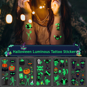 Halloween Luminous Tattoo Stickers Ghost Taty For Kids Fake Tattoo Witch Glowing in Dark Pumpkin Temporary Tattoos Stickers Kits