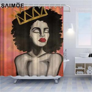 Mignon Rideaux De Douche Pour Couronne Fille Afro-Américain Fille Personnalité Rideau De Douche Afro-Américain Femmes Art Salle De Bains Rideau De Douche