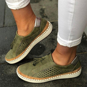 2020 New Women Shoes Designer Espadrilles Green Mesh Breathable Loafers Vintage Solid Trainers Cheap Outdoor Casual Shoes Size 35-43