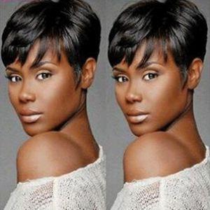 "8 ""Short Straight Premium Natural Lace Front Black Bob pelucas para mujeres Sintético Short Parting Frontal Lace Wigs pelucas cortas Cosplay"