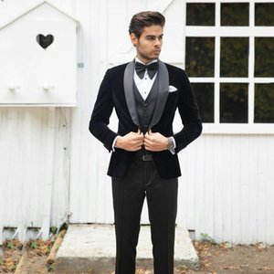 Latest Coat Pants Design Black Velvet Men Suits For Wedding Smoking Groom Tuxedo Terno Masculino 3Piece Costume Mariage Homme