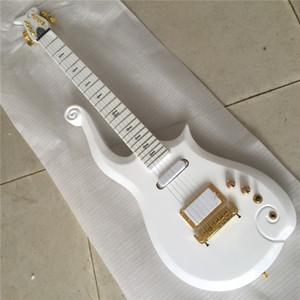 Envío gratis Rare Neck Thru Body Diamond Series Alpine White Prince Cloud Guitarra eléctrica Gold Truss Rod Cover, perillas negras, tuerca de latón, Gol
