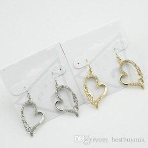 Ücretsiz Kargo, 12 prs / lot Sıcak Satış Moda Yeni Zarif Gümüş / Kesilmiş Logo Damla Küpeli ile altın kaplama Alaşım Kristal Kalp