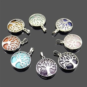 2020one Pendant Gemstone Tree of life Charms Pendant DIY Necklace For Women Men Jewelry