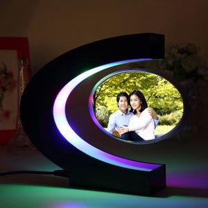 C shape Electronic Magnetic Levitation Floating Globe Po Frame Blue Home Accents Home Dcor light Birthday Gift Xmas Decor Wedding Gift