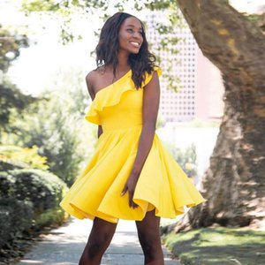 Yellow Prom Dresses Short One Shoulder Black Girls Simple Party Dress Vestido de Graduation 2021 Satin Homecoming Dress