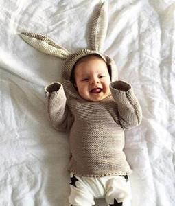 Autumn Winter Cute Baby Sweater Rabbit Ears Hooded Knitted Tops Sweater Boys Girls Kids Knitwear Pullovers Children Clothing Gray Khaki W956
