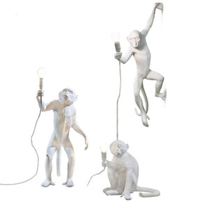 홈 조명 바 카페 레트로 현대 창조적 인 디자인 수지 원숭이 로프트 빈티지 대마 로프 펜던트 라이트 펜던트 램프 매달려