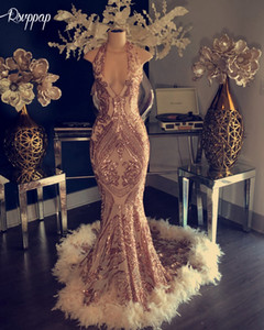 Sparkly African Mermaid Long Prom Dress 2020 Halter Sleeveless Elegant Feather Rose Gold Black Girl Party evening Formal Gowns