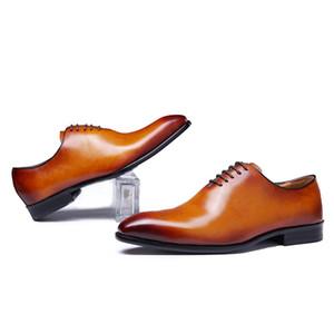 Zapatos De Vestir Marrones Para Fiesta De Бода Con Cordones Oxford Corte Entero Para Hombres Cuero Genuino Класико Marca