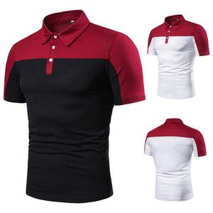 Casual Polo Gömlek Erkek Yaz Moda Patchwork Siyah Beyaz Çizgili Kısa Kollu Erkekler Için Rahat Polo Gömlek J190727