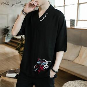 erkekler çince gömlek tarzı giyim yaz tarzı giysi kısa kollu CC233 için Geleneksel Çin giyim