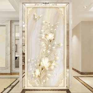 Custom Mural Wall Paper 3D Stereoscopic Relief Flower Butterfly Living Room Entrance Corridor Decor Wall Murals Photo Wallpaper