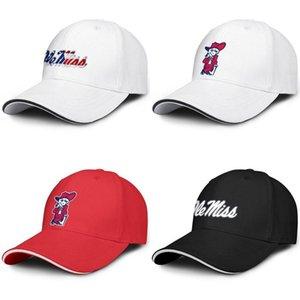 Sandwich ajustável Ole Miss Rebels Universidade Branco Logo Baseball Hat Fit Retro cap personalizado Football Red Efeito Bandeira Grey