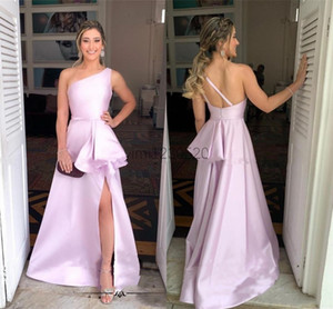 2020 Pink Prom Dresses One Shoulder Backless Side Split Ruffles Long Formal Women Evening Party Gowns vestidos formales para mujer