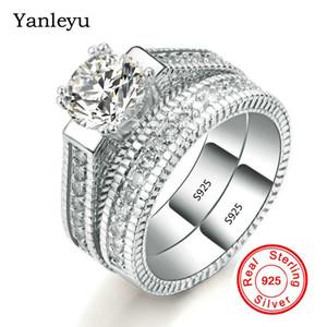 Yanleyu Vintage Fashion Jewelry 2pcs Pure 925 Sterling Silver Anelli di fidanzamento Set Zircone cubico Fedi nuziali per le donne PR200