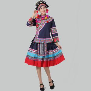 costume ethnique chinois Vêtements bleu Miao Hmong brodé de danse nationale vêtements Stage de performance du festival oriental