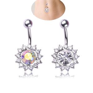 Sexy Wasit Bauchtanz-Kristallkörperschmuck Edelstahl Strass Navel Bell-Knopf Piercing Dangle-Ringe für Frauen Stern Sun Flower